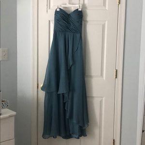 Gray/blue full length strapless gown